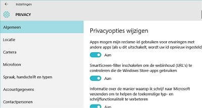 Privacy instellingen in Windows 10