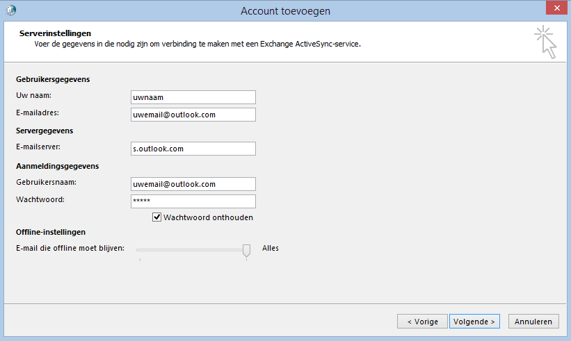 Outlook.com e-mail instellingen