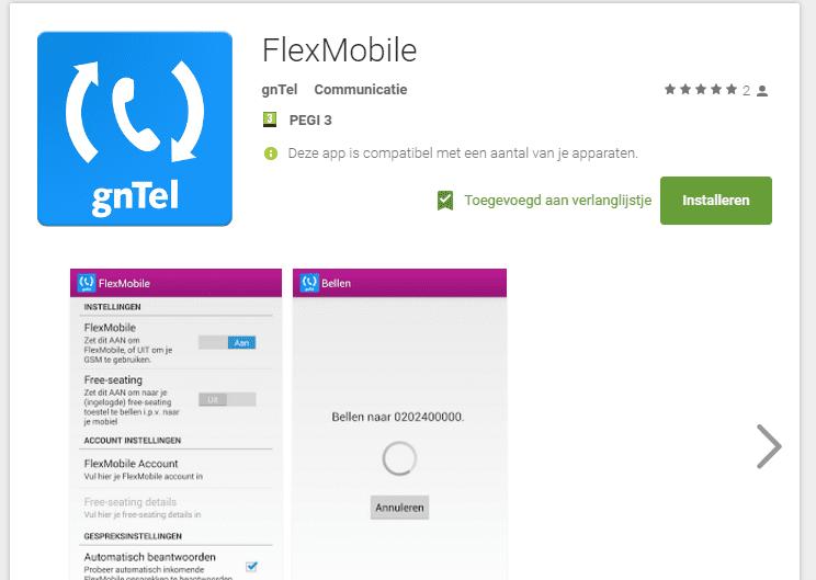 Bellen via onze smartphone app i.c.m. uw vaste telefoonnummer