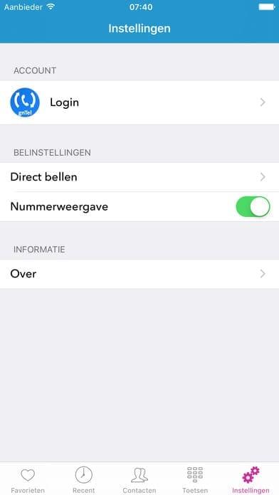via voip bellen met de gntel smartphone app