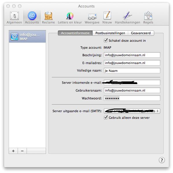 E-mail instellingen webhosting (mac)