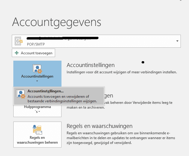 account instellingen openen in outlook