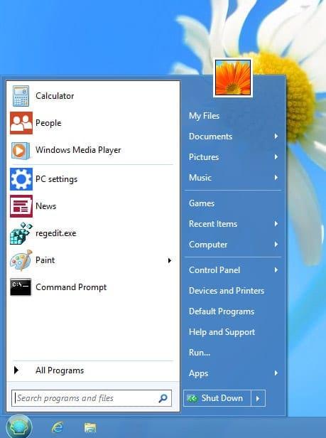 Normaal start menu in Windows 8.1