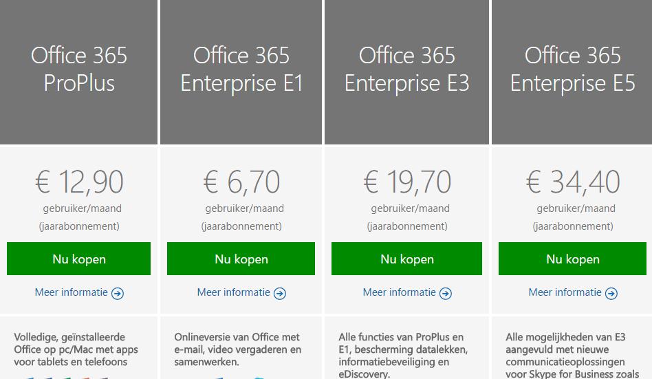 office 365 vergelijking