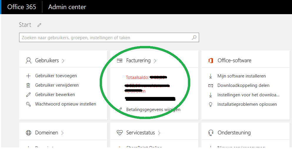office 365 facturen overzicht