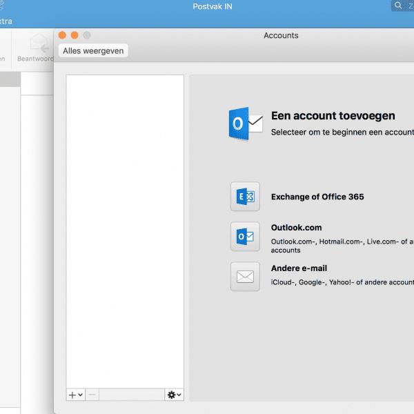 exchange account instellen op de mac