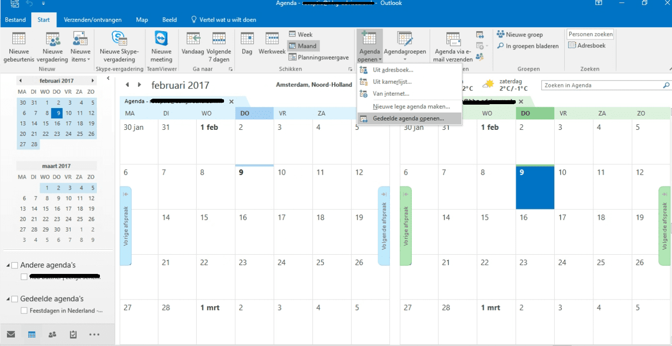 Office 365 een gedeelde agenda openen in outlook 2016