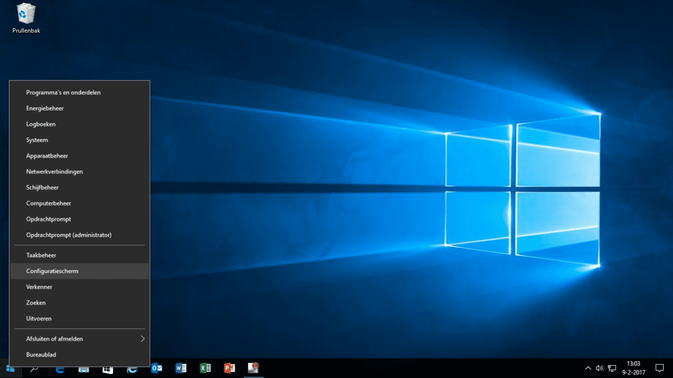 windows 10 configuratie scherm