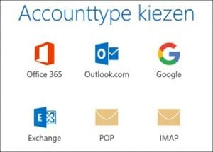 account type kiezen voor outlook 2016
