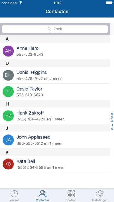 contacten lijst smartphone app bellen met je vaste nummer