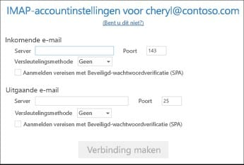 e-mail handmatig instellen in outlook 2016