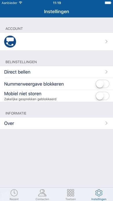 instellingen smartphone app bellen met je vaste nummer