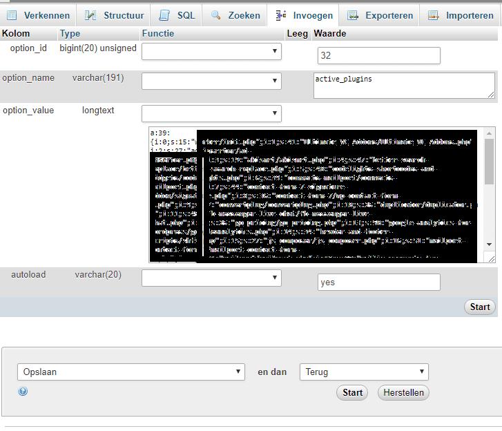 php admin actieve plugins uitschakelen