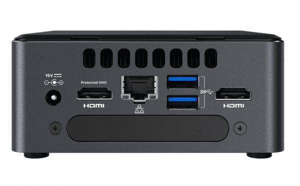 Intel nuc systeem achterkant