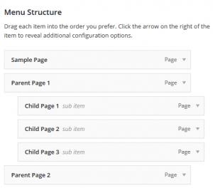 Wordpress menu verschillende niveaus