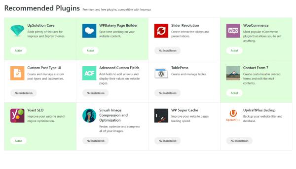 impreza plugins installeren