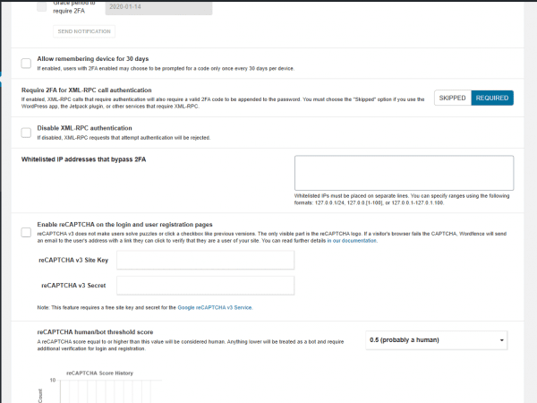 Wordfence google captcha login security