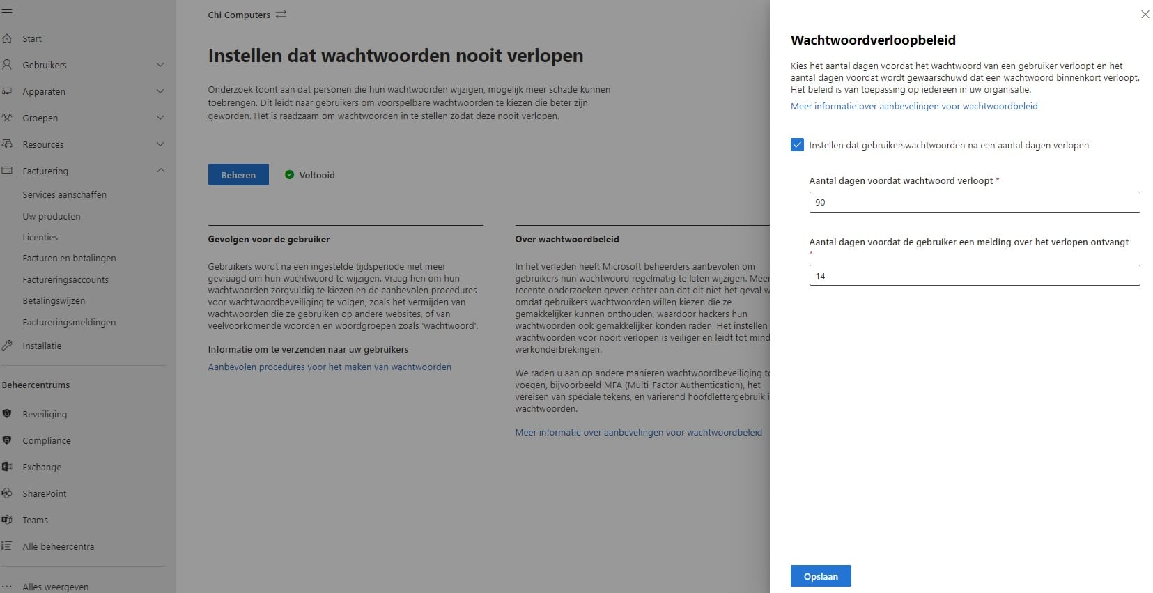 Microsoft 365 wachtwoord beleid