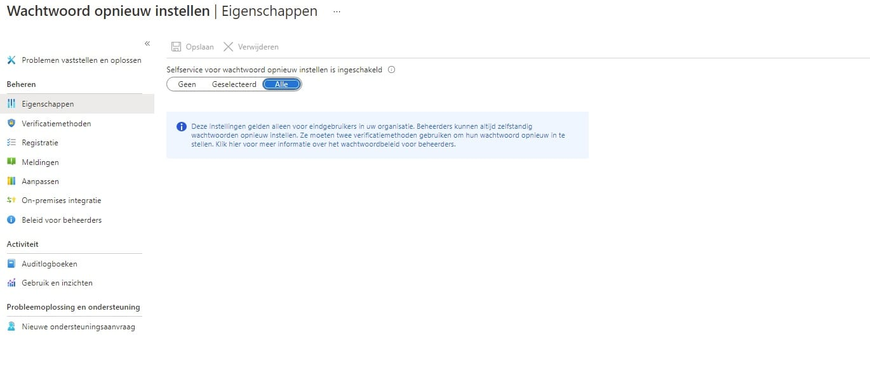 Microsoft azure wachtwoord herstel portaal
