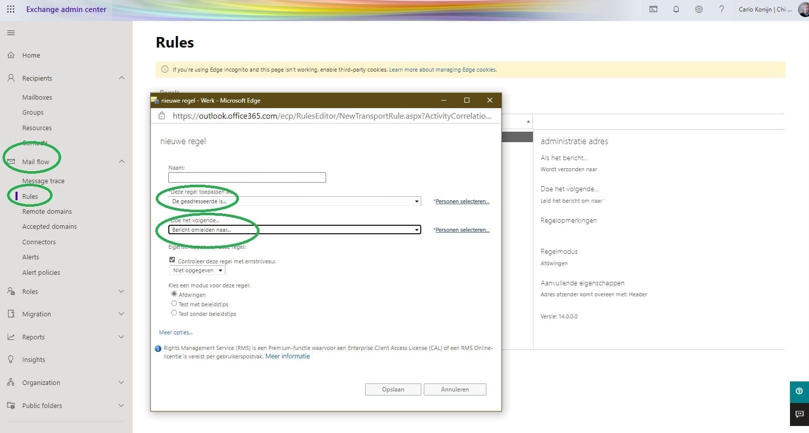 E-mail alias doorsturen in Microsoft exchange online