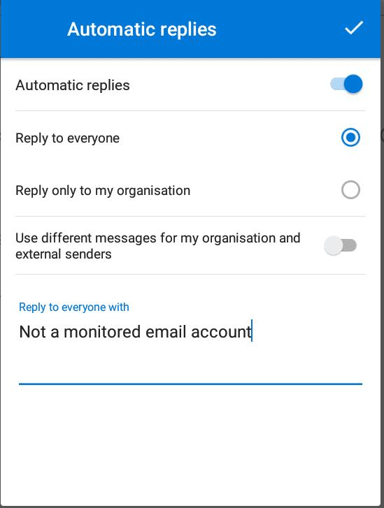automatisch antwoord voor outlook android