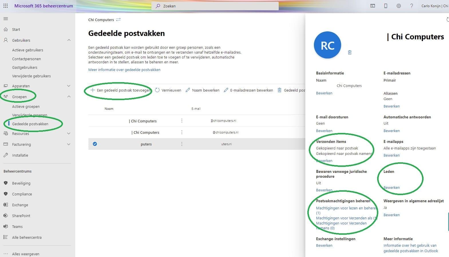 gedeeld postvak toevoegen microsoft 365 voor bedrijven