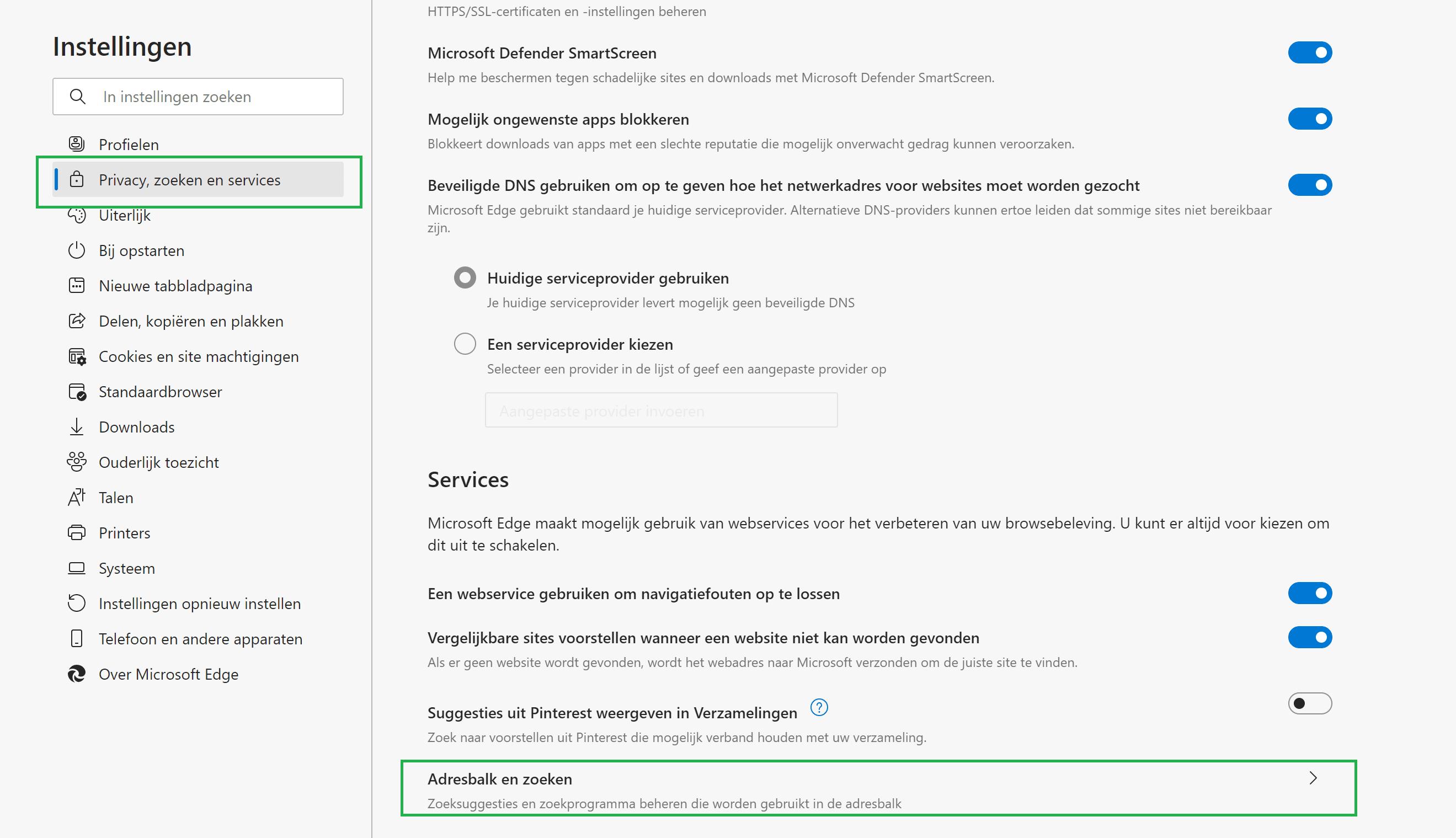 Microsoft Edge instellen met google zoekmachine