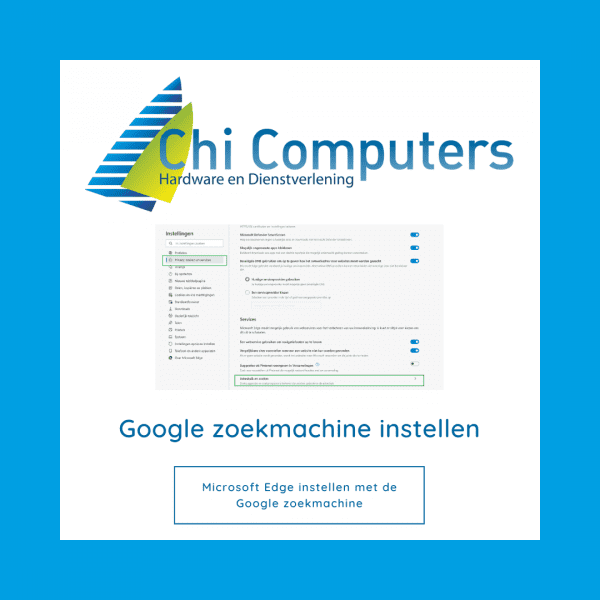 Google zoekmachine instellen in Microsoft Edge